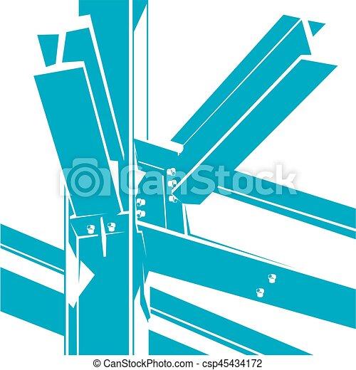 bâtiment, cadre, construction, métal, icon. - csp45434172
