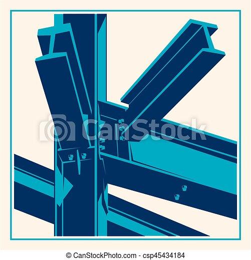 bâtiment, cadre, construction, métal, icon. - csp45434184