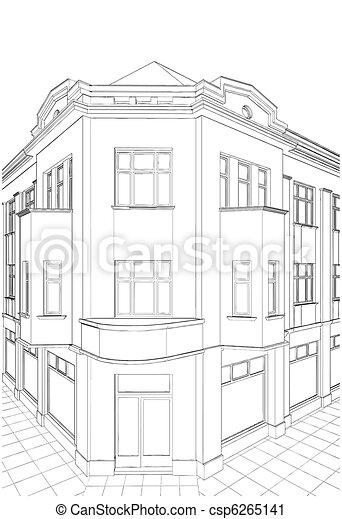 bâtiment, coin, maison, résidentiel - csp6265141
