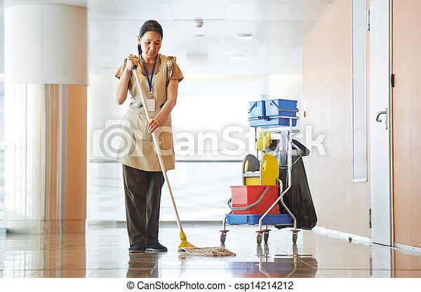 bâtiment, femme, nettoyage, salle - csp14214212