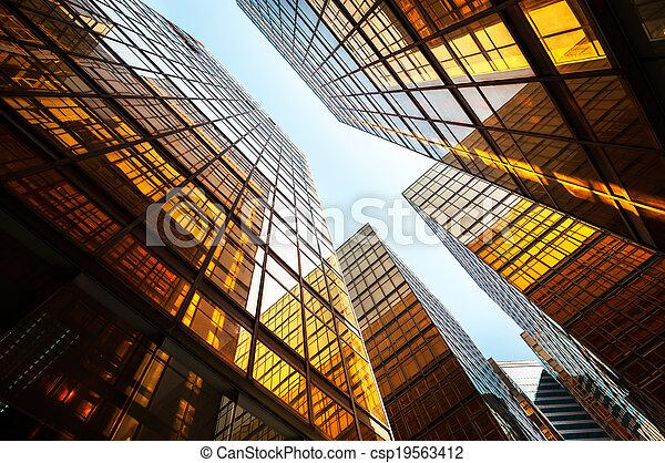bâtiment, hong, bureau, kong, réflecteur, extérieur - csp19563412