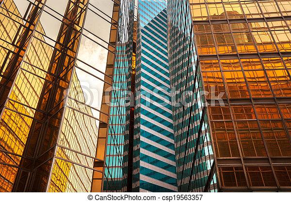 bâtiment, hong, bureau, reflété, kong, extérieur - csp19563357