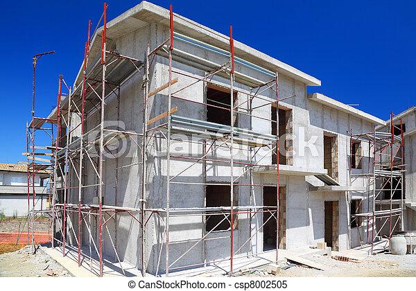bâtiment, maison, béton, construction, nouveau, blanc, deux-histoire, escalier, balcon - csp8002505