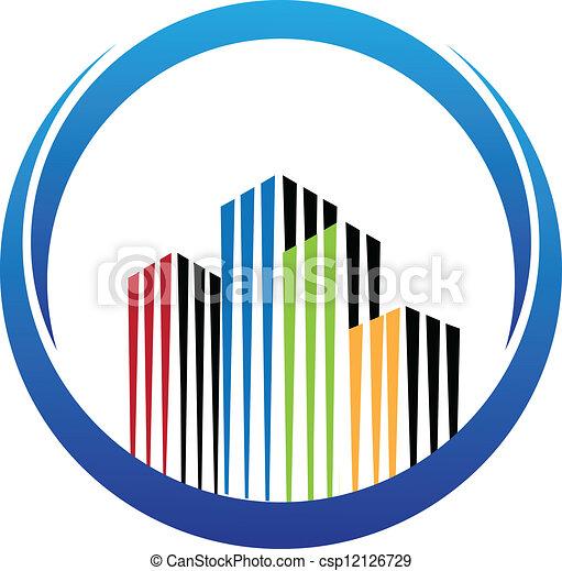 bâtiment, vrai, vecteur, propriété, logo - csp12126729