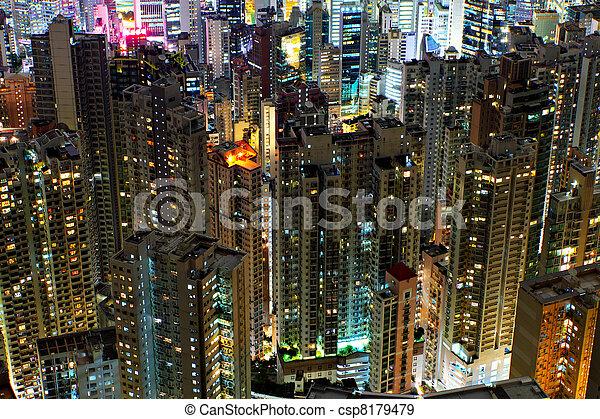 bâtiments, kong, hong, nuit - csp8179479