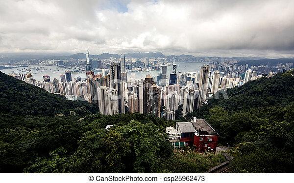 bâtiments, moderne, hong kong - csp25962473