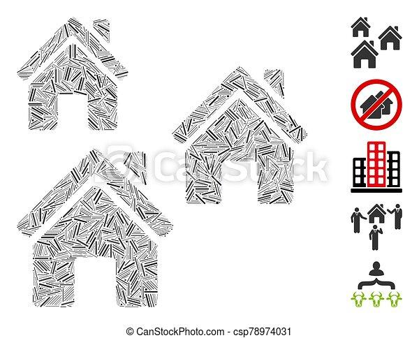 bâtiments, mosaïque, trappe, village - csp78974031