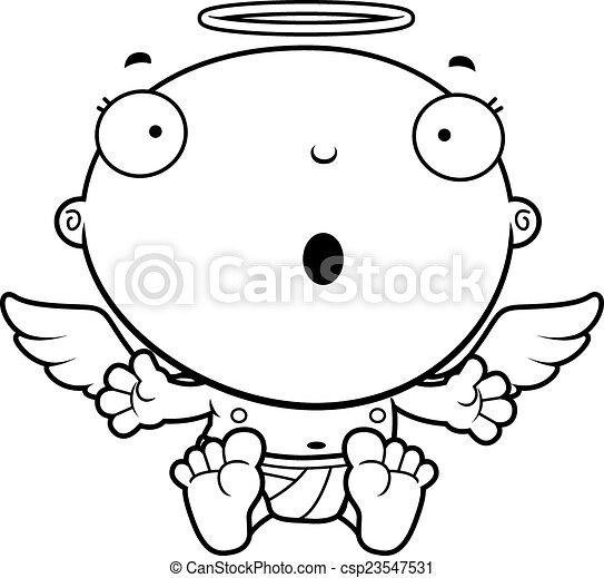 bébé, ange, dessin animé, surpris - csp23547531