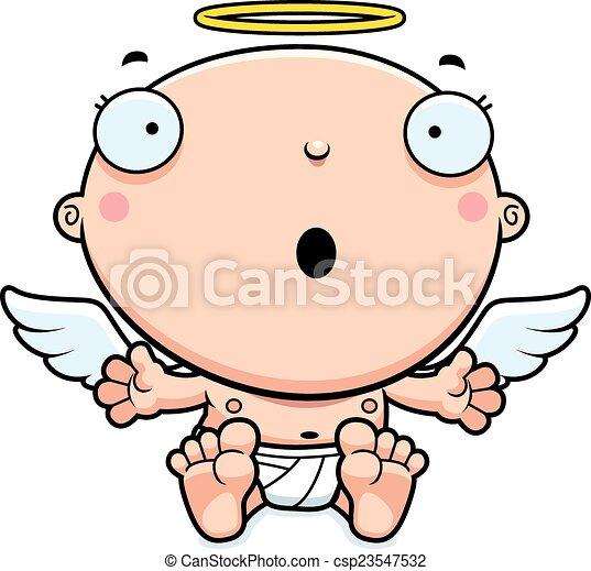 bébé, ange, dessin animé, surpris - csp23547532