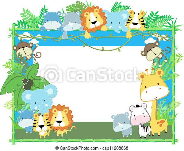 bébé, cadre, vecteur, animaux - csp11208868
