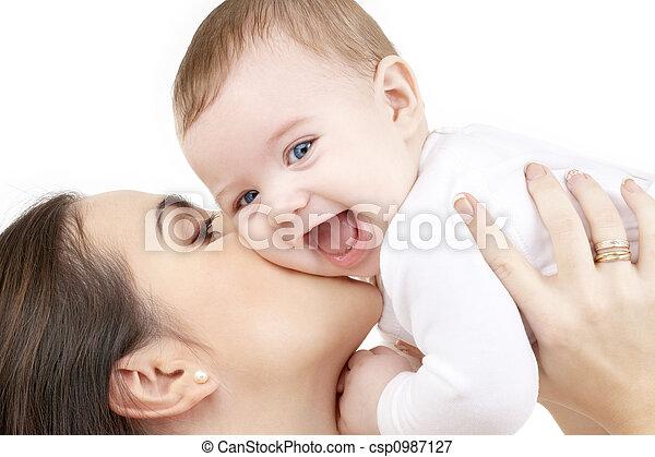 bébé, jouer, rire, mère - csp0987127
