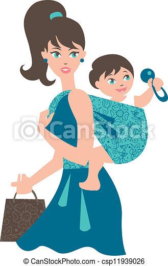 bébé, mère, fronde, actif - csp11939026