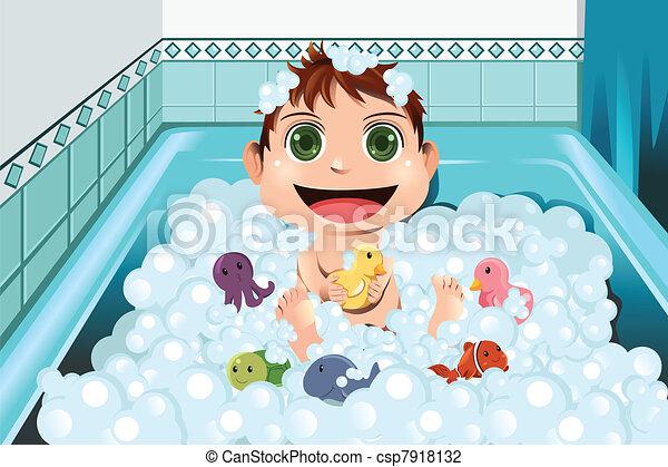 bébé, prendre, bain moussant - csp7918132