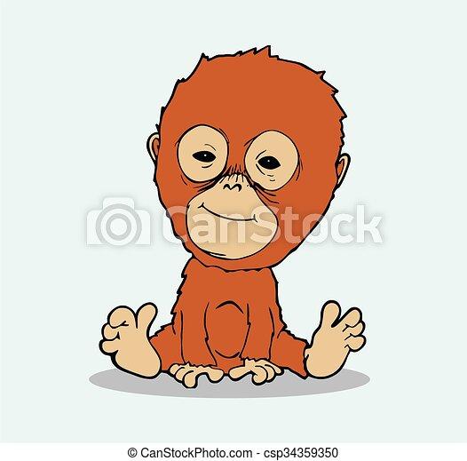 bébé, vecteur, dessin animé, orang-outan - csp34359350