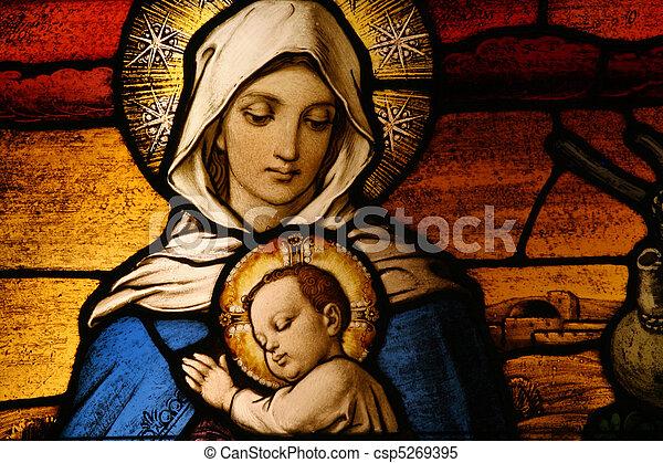 bébé, vigin, marie, jésus - csp5269395