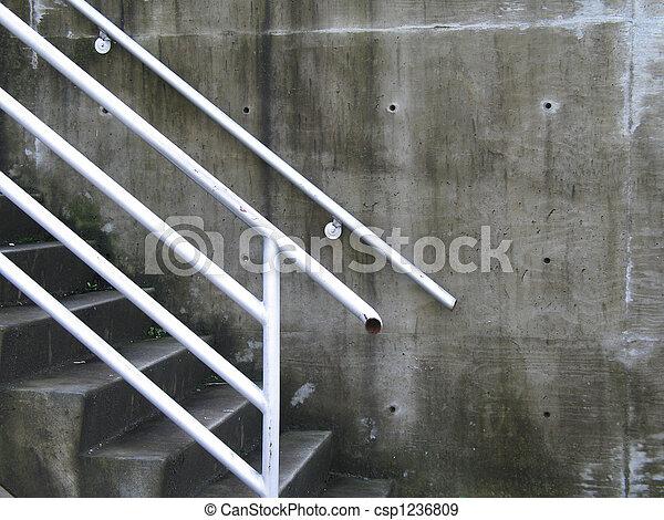 béton, blanc, étapes, balustrade - csp1236809
