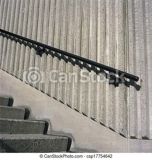 béton, grille, étapes, fer - csp17754642