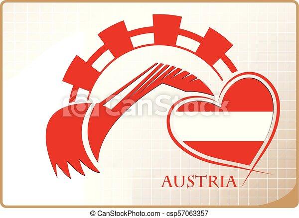 backhoe, logo, autriche, fait, drapeau - csp57063357