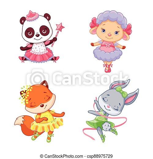 ballerines, peu, animaux, ensemble, dessin animé - csp88975729