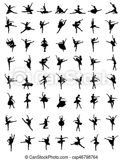 ballerines, silhouettes - csp46798764