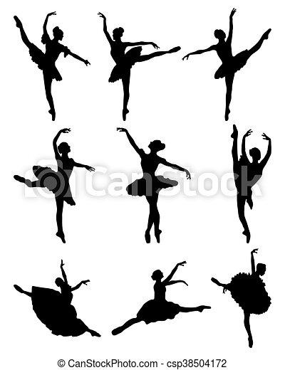 ballerines, silhouettes - csp38504172