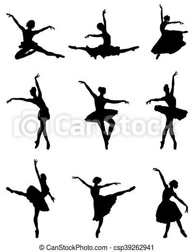 ballerines, silhouettes - csp39262941