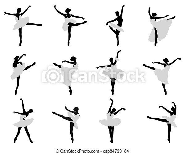 ballerines, silhouettes - csp84733184