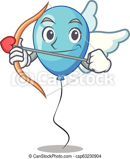 ballon bleu, cupidon, forme, anniversaire, dessin animé - csp63230904