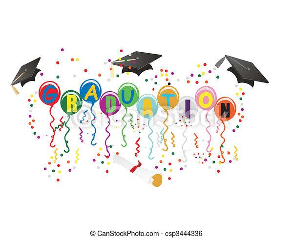 ballons, remise de diplomes, illustration, célébration - csp3444336