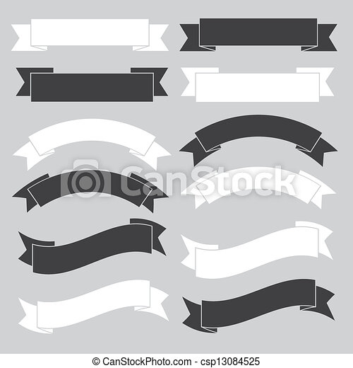 bannière, ruban, vieux, white. - csp13084525