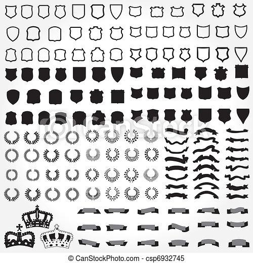 bannières, rubans, laurels, boucliers - csp6932745