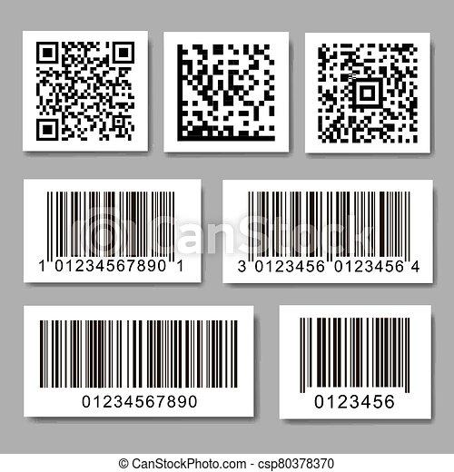 barcode, stickers., qr, collection, ensemble, code, étiquette - csp80378370