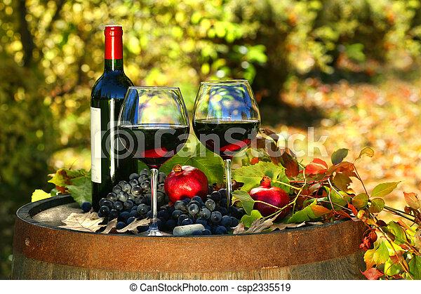 baril, vin, vieux, rouges, lunettes - csp2335519