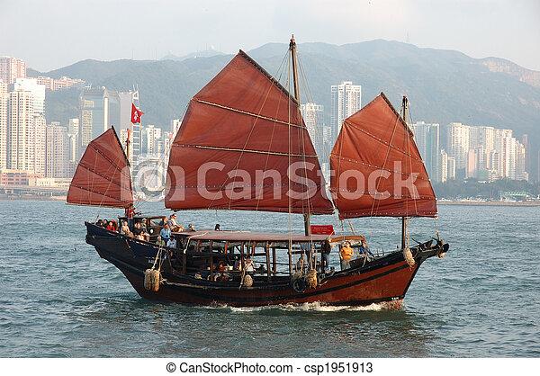bateau, chinois, voile - csp1951913