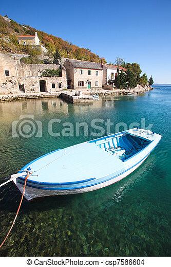 bateau pêche, village - csp7586604
