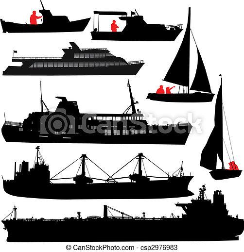 bateau, silhouettes - csp2976983