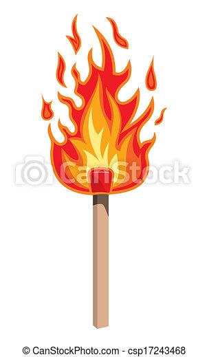 baton allumette, brûlé - csp17243468