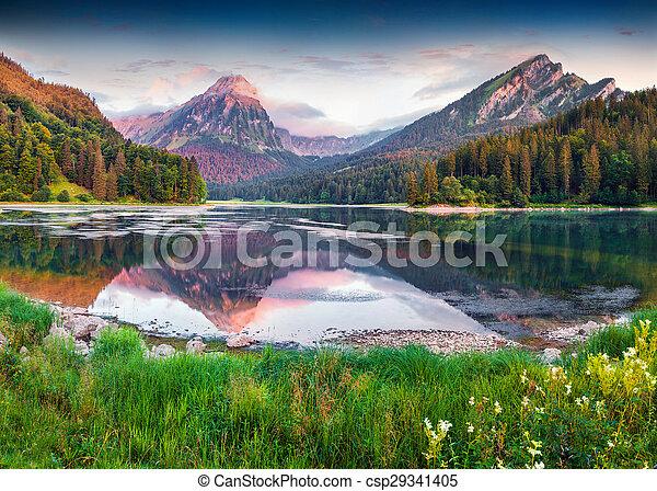 beau, été, obersee, coloré, lac, suisse, incredibly, levers de soleil - csp29341405