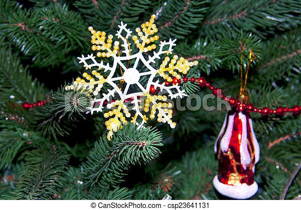 beau, arbre, noël, flocon de neige - csp23641131