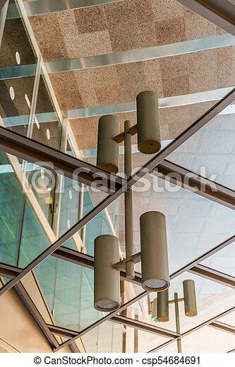 beau, bâtiment, extérieur, reflet, business, moderne, verre, architecture, rue., miroir, offices. - csp54684691