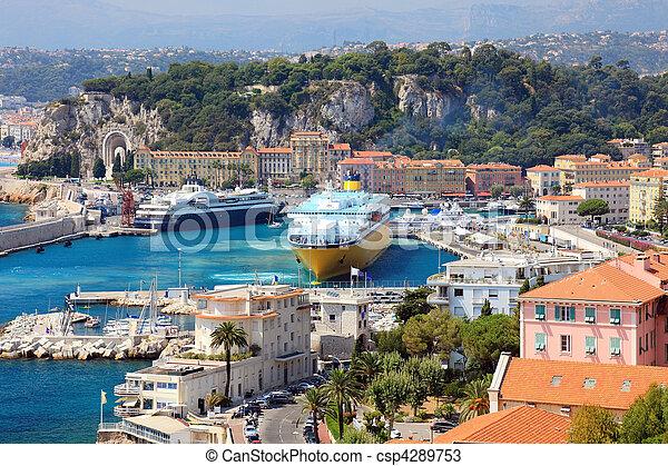 beau, d'azur., port, grand, od, france, bateaux, cote, croisière, europe., gentil - csp4289753