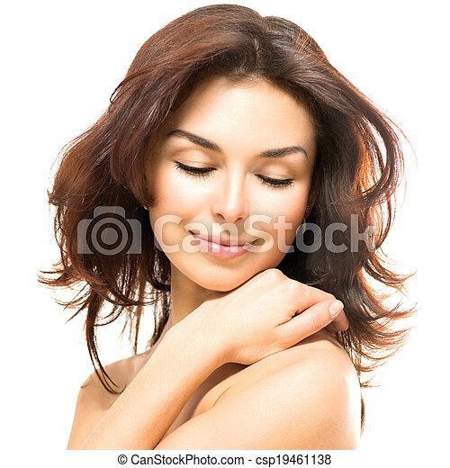 beau, elle, beauté, jeune, toucher, femme, peau, woman. - csp19461138