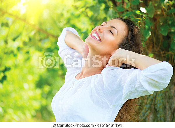 beau, jouir de, femme, nature, outdoor., jeune - csp19461194