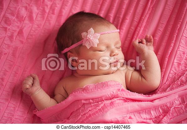 beau, nouveau né, girl, portrait, bébé - csp14407465