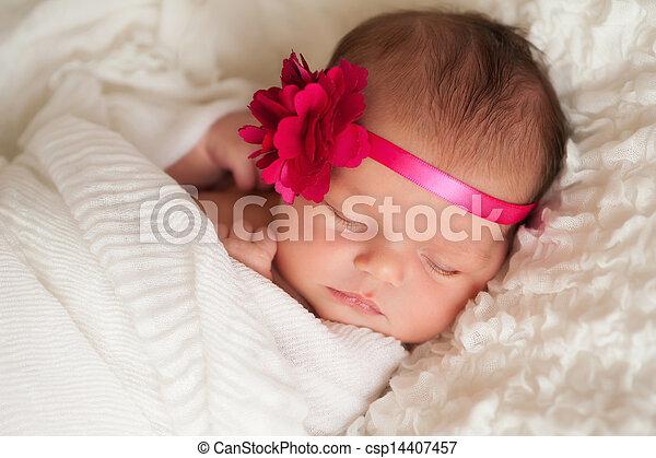beau, nouveau né, girl, portrait, bébé - csp14407457