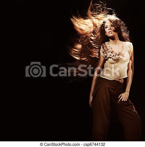 beau, voler, longs cheveux, portrait, girl - csp6744132