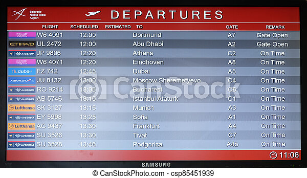 belgrade, planche, vol, aéroport - csp85451939
