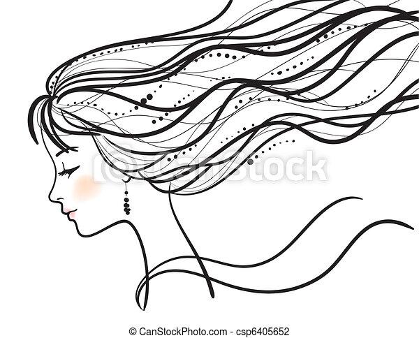 belle femme, silhouette, figure - csp6405652