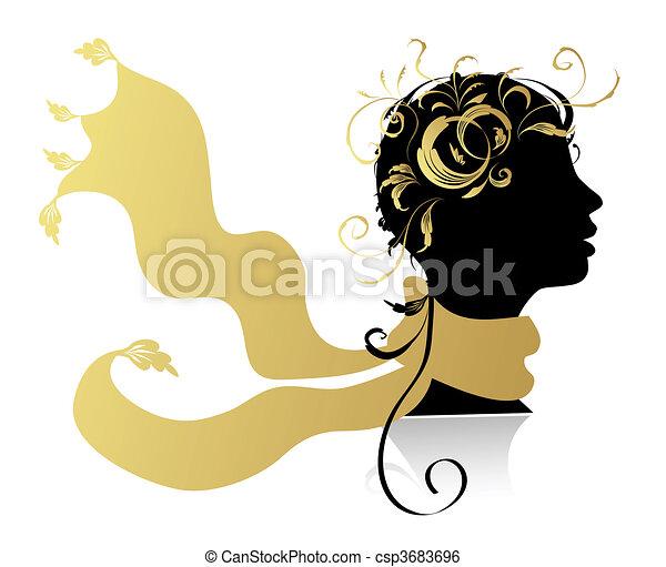 belle femme, tête, silhouette - csp3683696