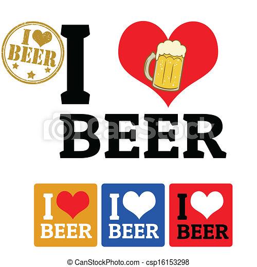 bière, étiquettes, amour, signe - csp16153298